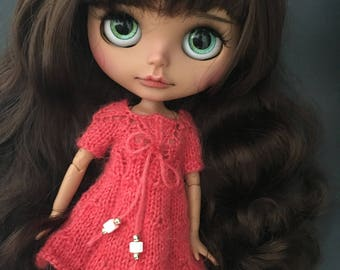 Lace trim around the neck knitted dress for Blythe Doll
