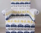 John Lewis Vehicles Fabric Adult Chair Armchair Nursery Cars Scooters Vans Bikes Bedroom Grey Blue