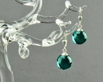 Earrings ball / Brisur 925/000 Silver rhodium plated, petrol