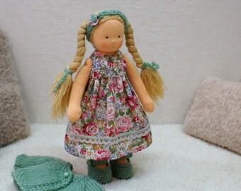 """Waldorf Doll in green 8"""", Waldorf Doll, Cloth Doll, Handmade Cloth Doll, Soft Doll, Waldorf inspired Doll"""