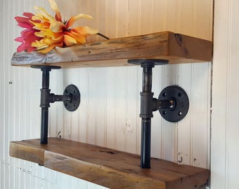 Reclaimed Wood Shelf  Natural edge Shelf, Live edge, Double Shelf, Pipe Bracket Shelf, Farmhouse Kitchen Shelf, Bathroom Shelf, Rustic Decor