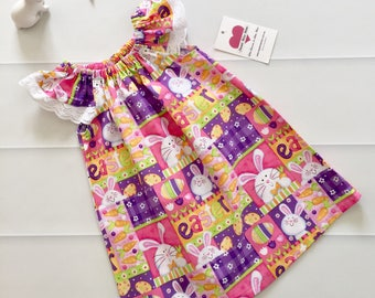 Girls Dress , Flutter Sleeve Dress, Size 1 , Easter Bunny, baby girl dress, handmade dress, party dress, ready to ship