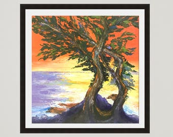 Monterey bay, Landscape Print, California Print, Monterey art, Beach painting, Ocean Print, Cypress lone art, California art, Tree painting