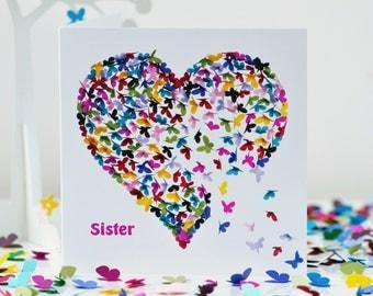 Sister Kaleidoscope Butterfly heart Card, sister birthday card, sister card, sister butterfly card, sister heart card, sister art card