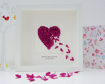 Personalised Wedding Anniversary Gift,  Personalised Wedding Gift, Butterfly Wedding Gift, Butterfly Picture, 3D Heart Picture