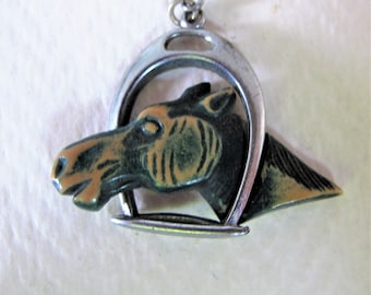 Classic Early Art Deco Horse head Shoe leather Brooch