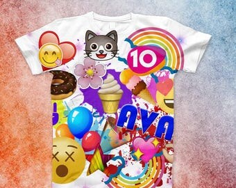 Personalized Emoji Birthday Shirt, Emoji Shirt, emoji name shirt, rainbow emojis