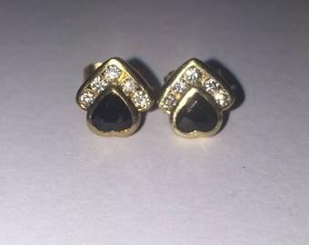 Heart Shaped Sapphire & Diamond Stud Earrings in 18K Yellow Gold