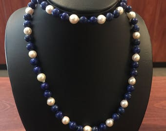 An Opera Length 67cm Pearl & Lapis Lazuli Beaded Necklace