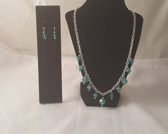 Teal Glass Bead Chain Jewelry Set - Teal Stud Earrings - Teal Necklace - Teal Jewelry Set - Teal Jewelry - Chain Necklace - Dangle Necklace