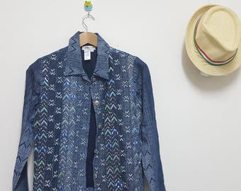 Vintage Coldwater Creel Jacket, Size small, Made in India, Indigo Denim jacket, Intricate beading
