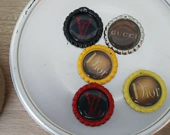 Bottle cap designer inspired charms