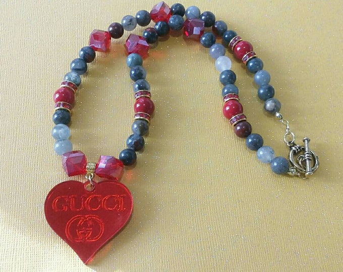 Designer Inspired Grey & Red Heart Ladies beaded necklace, gifts under 40, stocking stuffers, anniversary gifts, birthday gifts