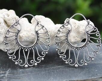 Hoops silver earrings, Abstract flower Hoop Earrings, Chunky hoops, Steampunk earrings, Gypsy tribal earrings, Alternative jewelry