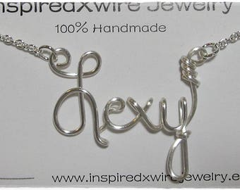 Lexy Wire Word Name Pendant Necklace