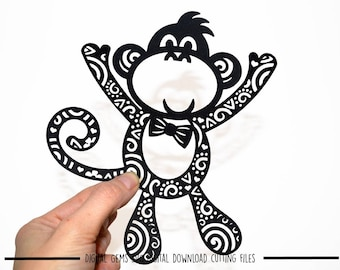 Mr Monkey paper cut svg / dxf / eps / files and pdf / png printable templates for hand cutting. Digital download. Small commercial use ok.