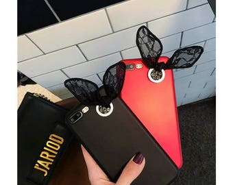 Creative Rabbit Ears Black & Red iPhone Apple iphone 7 iPhone 7 plus Case iphone 6/6s case iphone 6 /6s plus case with Butterfly Ribbons