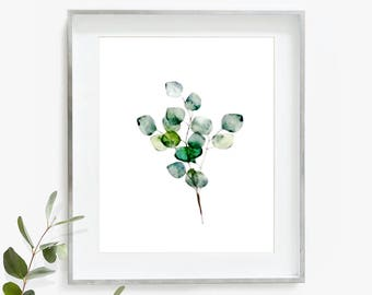 Eucalyptus Print, Eucalyptus Wall Art, Botanical Print, Leaf Art, Watercolor Print, Printable Eucalyptus, Plant Print, Digital Download