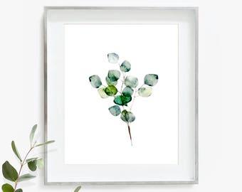 Eucalyptus Print, Eucalyptus Wall Art, Botanical Print, Leaf Art, Watercolor Print, Printable Eucalyptus, Plant Print, Digital Download
