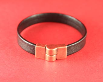 5B/3 MADE in EUROPE zamak magnetic clasp, 10mm flat cord magnetic clasp, copper bendable magnetic clasp (ng1134-010) Qty1