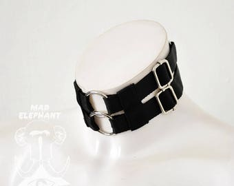 Elastic gothic choker double neck collar with rings and buckles