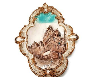 vintage majolica plaque Wilhem Schiller and Son, 1900's, french souvenir, Normandy souvenir, wall decor