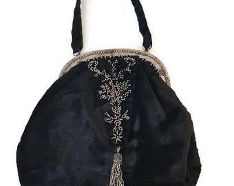 vintage french velvet purse or bag