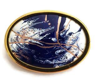 Vintage french enamel brooch, handmade enamel on copper pin, OOAK brooch