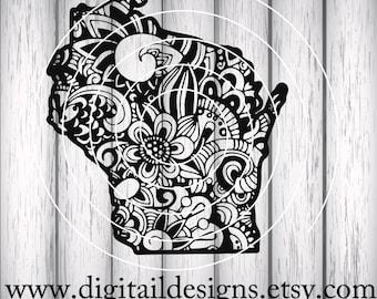 Wisconsin SVG - Wisconsin Zentangle - dfx- png - eps - ai - fcm - Cricut - Silhouette - Scan N Cut - Sublimation - Wisconsin Doodle