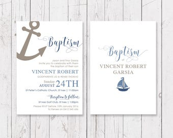 Boy Blue Christening or Baptism Invitation, Nautical Sailor Anchor Design, Professionally Printed, Double Sided | Peach Perfect