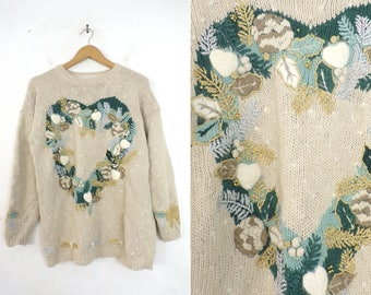 christmas wreath sweater knit holiday sweater gold silver metallic embroidered ramie cotton crew neck xmas sweater womens jumper medium