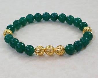 Green Jade Golden Bracelet