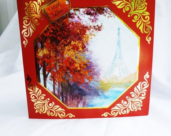 3D Pyramid Decoupage  Card, Birthday Card, Greeting Card, Autumn Colours, Eiffel Tower, Male or Female, Any Age