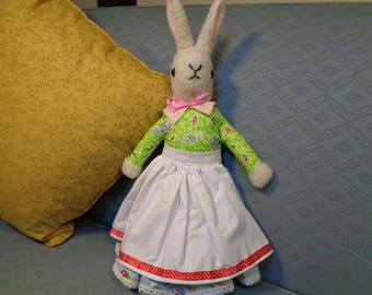 Vintage rabbit dressed and collectable. Mother rabbit dressed in cotton print and apron to garden in. Made to a 50's pattern.