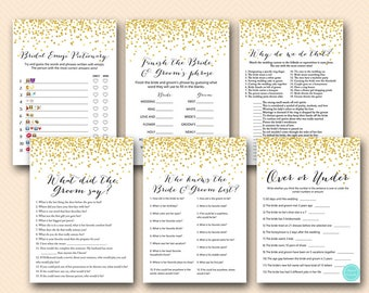 Gold Confetti Couples Shower Games, Gold Bridal Shower Game Printable, what did groom say, Gold Wedding Shower Games, Metallic Gold BS46 E