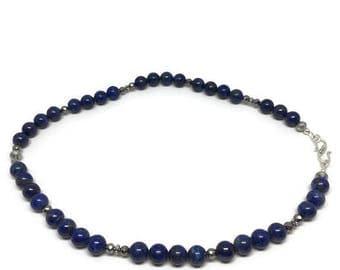 Lapis Lazuli Necklace with Pyrite, Lapis Lazuli and White Pyrite Necklace, Lapis Bead Necklace
