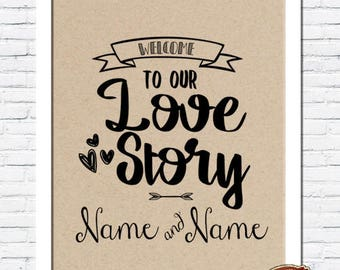 Rustic Vintage Shabby Chic Wedding A4 Print - Welcome to our Love Story