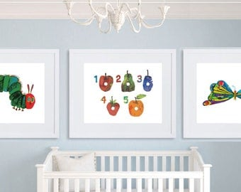 The Hungry Caterpillar - Set of three prints -  Nursery Set - Gift  - Baby Gift - Book - Illustration