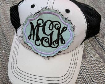 Monogrammed baseball hat, monogrammed trucker hat, shabby chic hat, shabby chic monogrammed distressed baseball hat