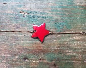 Bracelet - Red Star enamel on copper