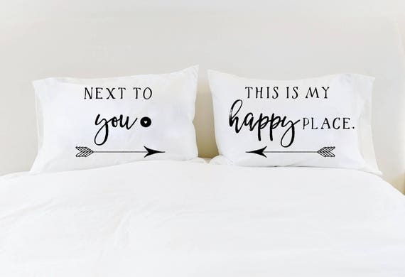happy place his and hers pillowcases couples pillowcases next