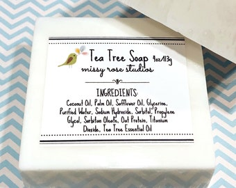tea tree soap bar, bar soap, essential oil soap, coconut oil soap, beauty products, gifts under 10, mothers day gift, teacher gift