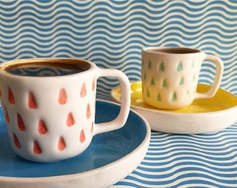 Neme Hipster Espresso Coffee Cups with plates (x2)