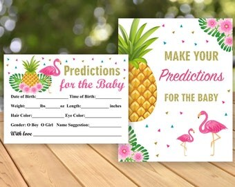 Flamingo Pineapple Baby Shower Prediction Cards Instant Download Luau Hawaiian Pink Baby Statistics Game Guess Baby's Card Girl PP1
