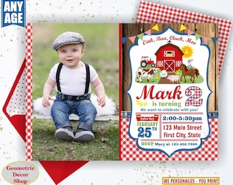 Farm animals birthday invitation woodland red tractor plaid wood invite rustic boy horse cow duck bunny sheep Photo Photograph BDFarm1