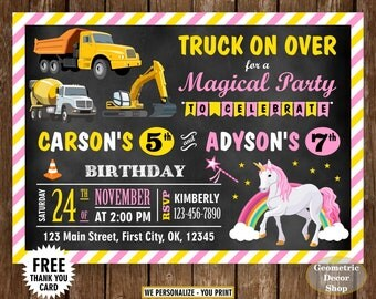 Construction / Unicorn / Birthday / invite / invitation / Siblings / Dual / double / combined / twins / joint / chalkboard / rainbow / BDS1
