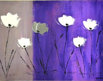 abstract modern painting poppies, contemporary art, painting abstract art, grey/purple poppies modern size 70 x 50