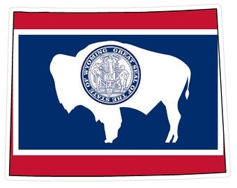 Wyoming State (Q50) Shape Flag Vinyl Decal Sticker Car/Truck Laptop/Netbook Window