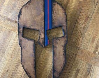 Spartan Helmet-Torched-Marine Corps-Blood Stripe