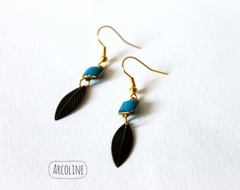 Earrings feather square Crystal ° °